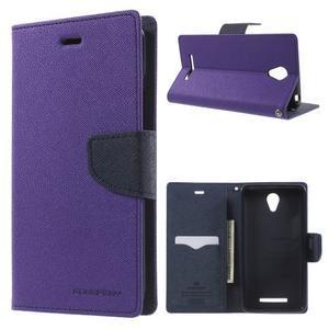 Goos PU kožené pouzdro na Xiaomi Redmi Note 2 - fialové - 1