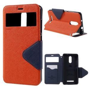 Diary pouzdro s okýnkem na mobil Xiaomi Redmi Note 3  - oranžové - 1