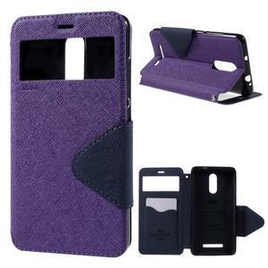 Diary pouzdro s okýnkem na mobil Xiaomi Redmi Note 3  - fialové - 1