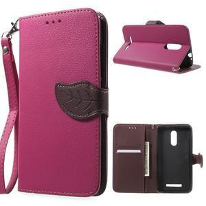 Leaf peněženkové pouzdro na Xiaomi Redmi Note 3 - rose - 1
