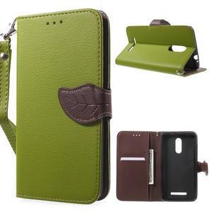 Leaf peněženkové pouzdro na Xiaomi Redmi Note 3 - zelené - 1