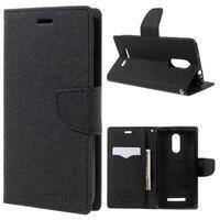 Wallet PU kožené pouzdra na Xiaomi Redmi Note 3 - černé - 1/7