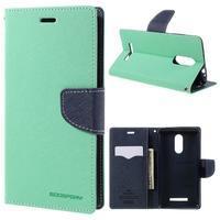 Wallet PU kožené pouzdra na Xiaomi Redmi Note 3 - azurové - 1/7