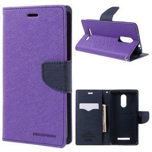 Wallet PU kožené pouzdra na Xiaomi Redmi Note 3 - fialové - 1