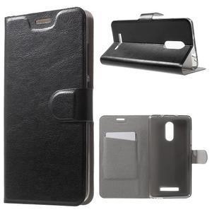 Horse PU kožené pouzdro na Xiaomi Redmi Note 3 - černé - 1