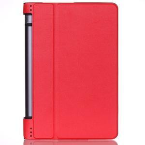 Polohovatelnotelné PU kožené pouzdro na Lenovo Yoga Tab 3 8.0 - červené - 1