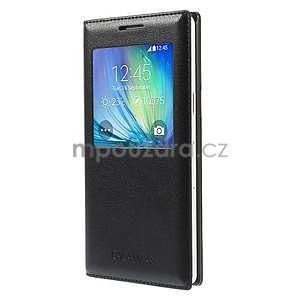 PU kožené pouzdro s okýnkem na Samsung Galaxy A5 - černé - 1