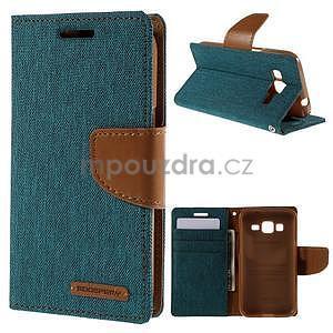 Stylové textilní/PU kožené pouzdro na Samsung Galaxy Core Prime - zelenomodré - 1