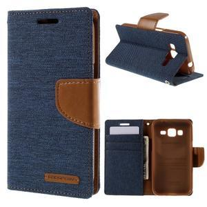 Stylové textilní/PU kožené pouzdro na Samsung Galaxy Core Prime - modré - 1