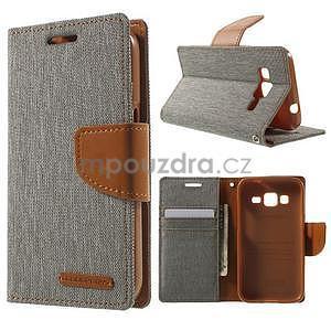 Stylové textilní/PU kožené pouzdro na Samsung Galaxy Core Prime - šedé - 1