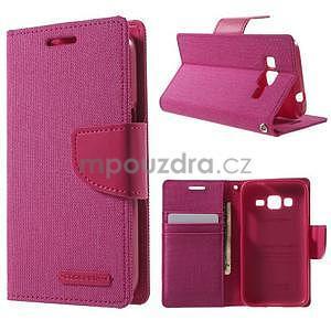 Stylové textilní/PU kožené pouzdro na Samsung Galaxy Core Prime - růžové - 1