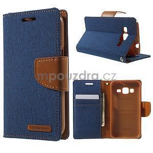 Stylové textilní/PU kožené pouzdro na Samsung Galaxy Core Prime - jeans - 1
