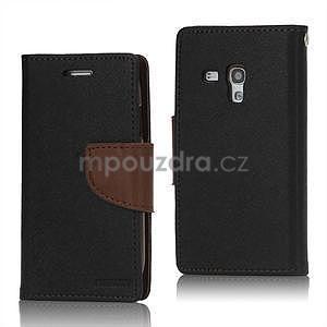 Diary peněženkové pouzdro na mobil Samsung Galaxy S3 mini - černé/hnědé - 1