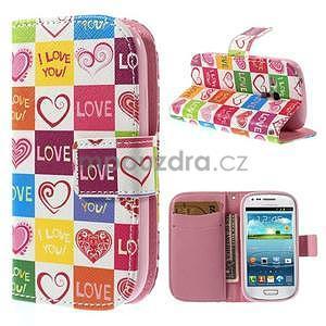 Peněženkové pouzdro na Samsung Galaxy S3 mini - srdce - 1