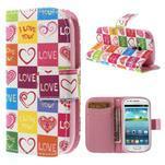 Peněženkové pouzdro na Samsung Galaxy S3 mini - srdce - 1/7
