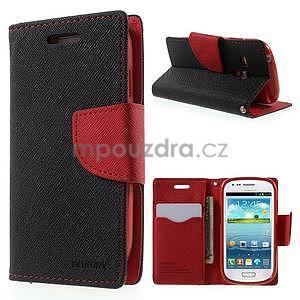 Diary peněženkové pouzdro na mobil Samsung Galaxy S3 mini - černé/červené - 1