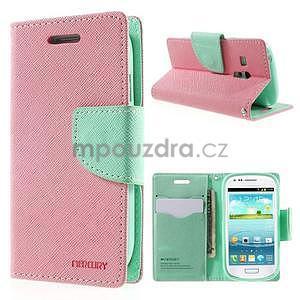 Diary peněženkové pouzdro na mobil Samsung Galaxy S3 mini - růžové/azurové - 1