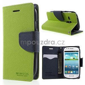 Diary peněženkové pouzdro na mobil Samsung Galaxy S3 mini - zelené/tmavěmodré - 1