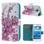Peněženkové pouzdro pro Samsung Galaxy S4 mini - květoucí větvička - 1/7