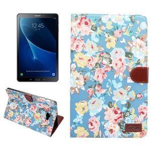 Květinové pouzdro na tablet Samsung Galaxy Tab A 10.1 (2016) - modré - 1