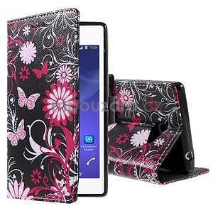 Peněženkové pouzdro na mobil Sony Xperia M2 - motýlci - 1