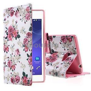 Peněženkové pouzdro na mobil Sony Xperia M2 - květinová koláž - 1