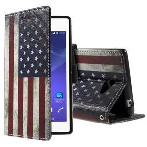 Peněženkové pouzdro na mobil Sony Xperia M2 - US vlajka - 1