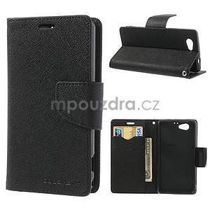 Fancy peněženkové pouzdro na Sony Xperia Z1 Compact - černé - 1