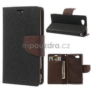 Fancy peněženkové pouzdro na Sony Xperia Z1 Compact - černé/hnědé - 1