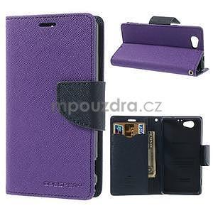 Fancy peněženkové pouzdro na Sony Xperia Z1 Compact - fialové - 1
