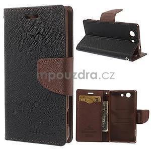 Diary peněženkové pouzdro na mobil Sony Xperia Z3 Compact - černé/hnědé - 1