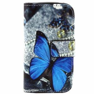 Peněženkové pouzdro pro Samsung Galaxy Trend Plus / Galaxy S duos - modrý motýl - 1