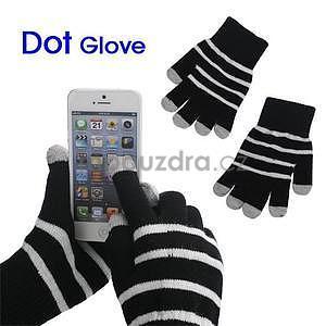 Pruhované rukavice pro práci s mobilem - černé - 1