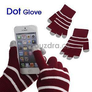 Pruhované rukavice pro práci s mobilem - červené - 1
