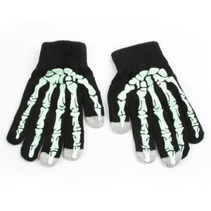 Skeleton rukavice na dotykové telefony - černé/bílé - 1