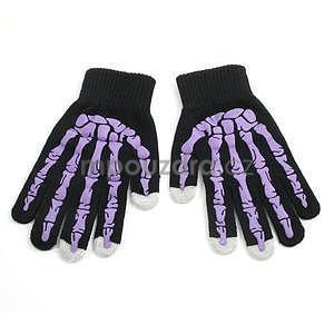 Skeleton rukavice na dotykové telefony - černé/fialové - 1