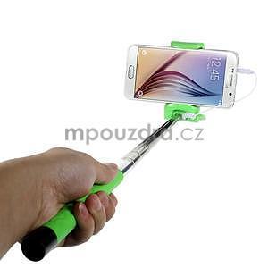 Selfie tyč s automatickým spínačem na rukojeti - zelená - 1