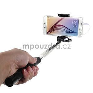Selfie tyč s automatickým spínačem na rukojeti - černá - 1