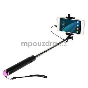 GX automatická selfie tyč se spínačem - růžová - 1