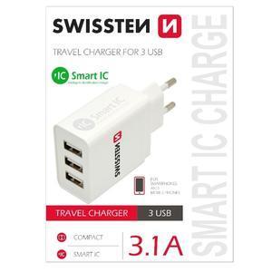 Univerzální nabíječka na mobil 3 vstupy USB - bílá