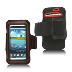 Fitness sportovní pouzdro na mobil (140 x 75 mm) - černé/červené - 1