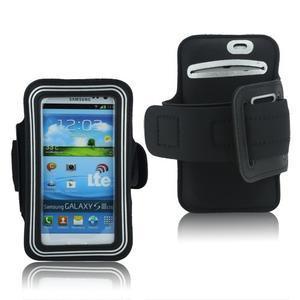 Fitness sportovní pouzdro na mobil (140 x 75 mm) - černé/stříbrné - 1