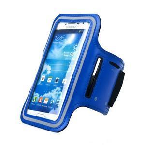Modrý sportovní obal na mobil do velikosti 145 x 75 mm - 1