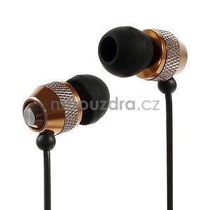 Špuntová sluchátka do mobilu, bronzová - 1
