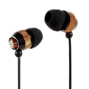 Špuntová sluchátka do mobilu, bronzová / černá - 1