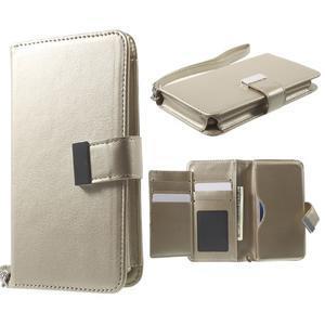 Luxusní univerzální pouzdro pro telefony do 140 x 70 x 12 mm - zlaté - 1
