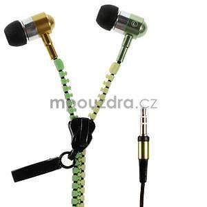 Dvoubarevná zipová sluchátka do uší, zelená / žlutá - 1