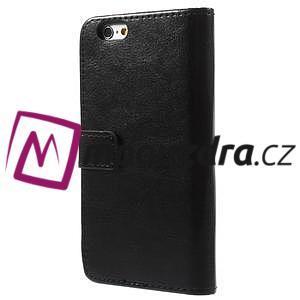 Peněženkové PU kožené pouzdro na iPhone 6, 4.7 - černé - 2