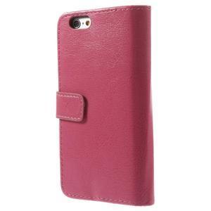 Peněženkové PU kožené pouzdro na iPhone 6, 4.7 - růžové - 2