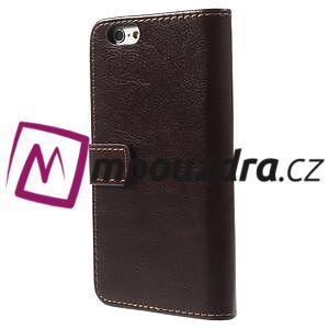 Peněženkové PU kožené pouzdro na iPhone 6, 4.7 - hnědé - 2
